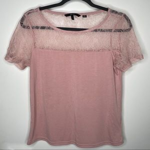Vero Moda lace edged silky t shirt